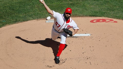 FILE - In this Oct. 9, 2016 file photo, Washington Nationals starting pitcher Tanner Roark pitches against the Los Angeles Dodgers during the first inning in Game 2 of baseball's National League Division Series at Nationals Park oct. in Washington. (AP Photo/Pablo Martinez Monsivais, File)