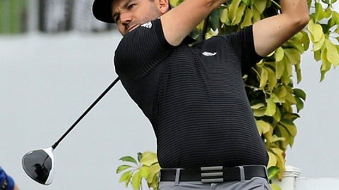 Sergio Garcia, of Spain, tees off at the 18th at the Honda Classic golf tournament practice, Wednesday, Feb. 22, 2017, in Palm Beach Gardens, Fla. (AP Photo/Alan Diaz)