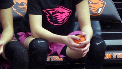 This Feb. 10, 2017 photo shows Oregon State point guard Sydney Wiese awaiting player introductions before a game against Southern California at Gill Coliseum in Corvallis, Ore. Wiese, a senior, is playing out her final season with the Beavers. (AP Photo/Annie M. Peterson)