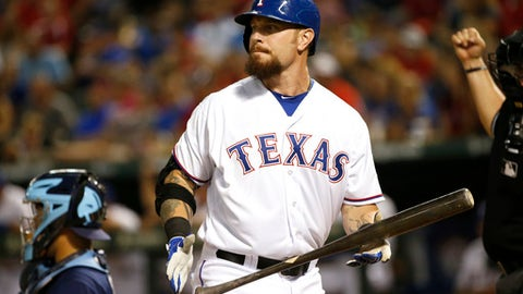 FILE - In this Aug. 15, 2015, file photo, Texas Rangers' Josh Hamilton looks away after striking out in a baseball game against the Tampa Bay Rays in Arlington, Texas. Hamilton was back in Texas on Wednesday, Feb. 22, 2017 to have his surgically reconstructed left knee examined after he experienced discomfort during the Rangers' first full-squad spring training workout. (AP Photo/Ron Jenkins, File)