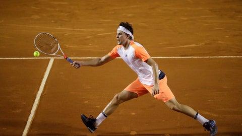 Austria's Dominic Thiem returns the ball to Serbia's Dusan Lajovic at the Rio Open tennis tournament, in Rio de Janeiro, Brazil, Wednesday, Feb. 22, 2017. (AP Photo/Felipe Dana)