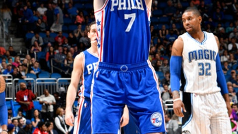 ORLANDO, FL - FEBRUARY 9:  Ersan Ilyasova #7 of the Philadelphia 76ers shoots a free throw during a game against the Orlando Magic on February 9, 2017 at Amway Center in Orlando, Florida. NOTE TO USER: User expressly acknowledges and agrees that, by downloading and/or using this photograph, user is consenting to the terms and conditions of the Getty Images License Agreement. Mandatory Copyright Notice: Copyright 2017 NBAE (Photo by Fernando Medina/NBAE via Getty Images)