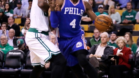 Philadelphia 76ers forward Nerlens Noel (4) drives to the basket during the second half of an NBA basketball game in Boston, Wednesday, Feb. 15, 2017. The Celtics defeated the 76ers 116-108. (AP Photo/Charles Krupa)