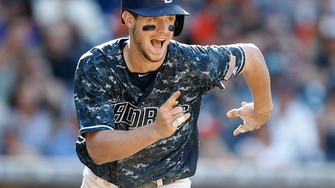 FILE - This Sept. 25, 2016 file photo shows San Diego Padres' Wil Myers running to score against the San Francisco Giants during the seventh inning of a baseball game in San Diego. San Diego's Wil Myers landed the biggest raise of all the hefty salary increases in arbitration. The 168 players eligible for arbitration as of mid-December averaged a 113 percent raise, according to a study by The Associated Press, led by Myers. (AP Photo/Alex Gallardo, file)