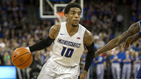 FILE - In this Wednesday, Dec. 28, 2016 file photo, Creighton guard Maurice Watson Jr. (10) dribbles in the lane against Seton Hall during the second half of an NCAA college basketball game in Omaha, Neb. Police said Thursday, Feb. 23, 2017 that Creighton basketball player Maurice Watson Jr. is a suspect in an alleged sexual assault in Omaha. (AP Photo/John Peterson, File)