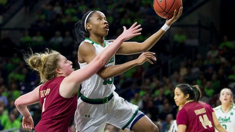 Notre Dame's Lindsay Allen, right, goes up for a layup over Boston College's Taylor Ortlepp during the first half of an NCAA college basketball game Thursday, Feb. 23, 2017, in South Bend, Ind. (AP Photo/Robert Franklin)