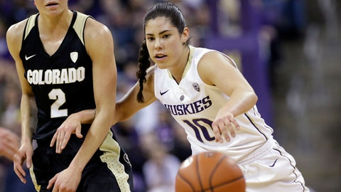 Washington's Kelsey Plum (10) and Colorado's Alexis Robinson (2) eye a loose ball during the first half of an NCAA college basketball game Thursday, Feb. 23, 2017, in Seattle. (AP Photo/Elaine Thompson)