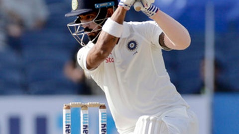India's Lokesh Rahul bats on the second day of the first cricket test match against Australia in Pune, India, Friday, Feb. 24, 2017. (AP Photo/Rajanish Kakade)