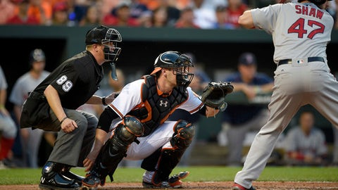 FILE - In this May 31, 2016 file photo, Matt Wieters, then with the Baltimore Orioles, waits for the pitch as home plate umpire Cory Blaser (89) watches during the third inning of a baseball game as Boston Red Sox' Travis Shaw (47) bats, in Baltimore. The Washington Nationals agreed to terms on a one-year contract with a 2018 player option with catcher Matt Wieters on Friday, Feb. 24, 2017. (AP Photo/Nick Wass, File)