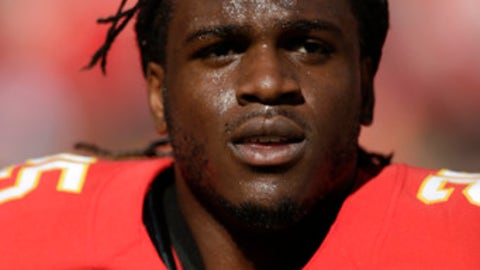 Kansas City Chiefs running back Jamaal Charles (25) walks the field before an NFL football game against the New Orleans Saints in Kansas City, Mo., Sunday, Oct. 23, 2016. (AP Photo/Colin E. Braley)