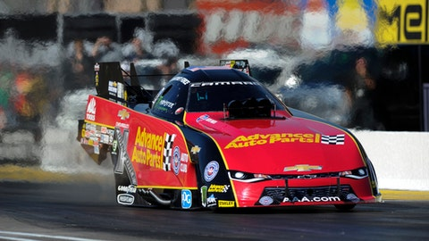 In a photo provided by the NHRA, Courtney Force takes part in the first session of Funny Car qualifying Friday, Feb. 24, 2017, at the NHRA Arizona Nationals drag races Friday, Feb. 24, 2017, in Chandler, Ariz. (Jerry Foss/NHRA via AP)