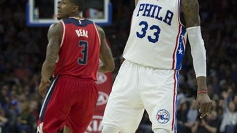 PHILADELPHIA, PA - FEBRUARY 24: Robert Covington #33 of the Philadelphia 76ers reacts after a made basket against Bradley Beal #3 of the Washington Wizards in the second quarter at the Wells Fargo Center on February 24, 2017 in Philadelphia, Pennsylvania. NOTE TO USER: User expressly acknowledges and agrees that, by downloading and or using this photograph, User is consenting to the terms and conditions of the Getty Images License Agreement. (Photo by Mitchell Leff/Getty Images)