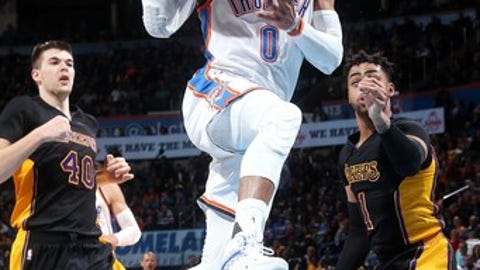 OKLAHOMA CITY, OK- FEBRUARY 24: Russell Westbrook #0 of the Oklahoma City Thunder goes to the basket during the game against the Los Angeles Lakers on February 24, 2017 at Chesapeake Energy Arena in Oklahoma City, Oklahoma. NOTE TO USER: User expressly acknowledges and agrees that, by downloading and or using this photograph, User is consenting to the terms and conditions of the Getty Images License Agreement. Mandatory Copyright Notice: Copyright 2017 NBAE (Photo by Layne Murdoch/NBAE via Getty Images)
