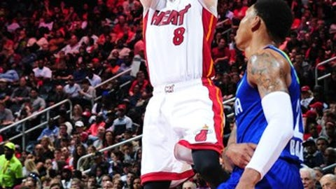 ATLANTA, GA - FEBRUARY 24: Tyler Johnson #8 of the Miami Heat shoots the ball against the Atlanta Hawks on February 24, 2017 at Philips Arena in Atlanta, Georgia.  NOTE TO USER: User expressly acknowledges and agrees that, by downloading and/or using this Photograph, user is consenting to the terms and conditions of the Getty Images License Agreement. Mandatory Copyright Notice: Copyright 2017 NBAE (Photo by Scott Cunningham/NBAE via Getty Images)