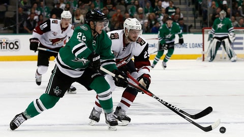 Dallas Stars' Jiri Hudler (22) and Arizona Coyotes' Oliver Ekman-Larsson (23) battle for the puck during the third period of an NHL hockey game, Friday, Feb. 24, 2017, in Dallas. (AP Photo/Mike Stone)