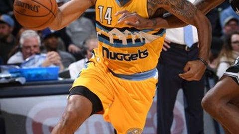 DENVER, CO - FEBRUARY 24:  Gary Harris #14 of the Denver Nuggets handles the ball during a game against the Brooklyn Nets on February 24, 2017 at the Pepsi Center in Denver, Colorado. NOTE TO USER: User expressly acknowledges and agrees that, by downloading and/or using this Photograph, user is consenting to the terms and conditions of the Getty Images License Agreement. Mandatory Copyright Notice: Copyright 2017 NBAE (Photo by Garrett Ellwood/NBAE via Getty Images)