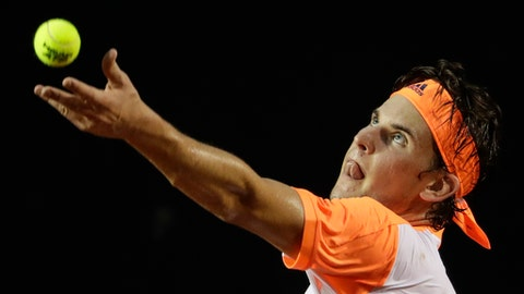 Austria's Dominic Thiem serves to Spain's Albert Ramos-Vinolas at the semi-finals of the Rio Open tennis tournament in Rio de Janeiro, Brazil, Saturday, Feb. 25, 2017. (AP Photo/Felipe Dana)