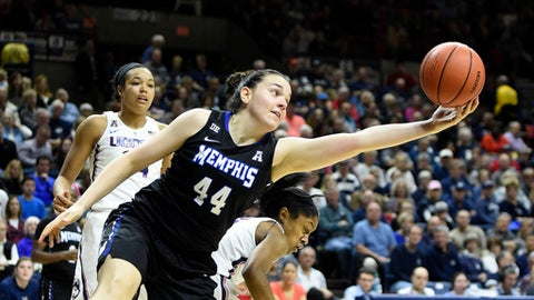 Memphis' Milena Bajic (44) reaches a rebound as Connecticut's Napheesa Collier watches during an NCAA college basketball game in Storrs, Conn., Saturday, Feb. 25, 2017. (AP Photo/Fred Beckham)