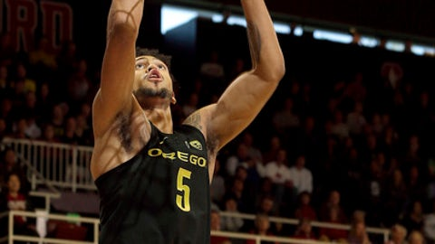 Oregon guard Tyler Dorsey (5) shoots against Stanford during the first half of an NCAA college basketball game in Stanford, Calif., Saturday, Feb. 25, 2017.  (AP Photo/Jeff Chiu)