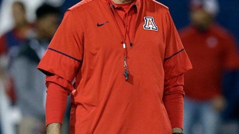 Arizona head coach Rich Rodriguez during an NCAA college football game against Arizona State, Friday, Nov. 25, 2016, in Tucson, Ariz. (AP Photo/Rick Scuteri)