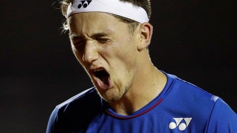 Norway's Casper Ruud reacts after missing a point to Spain's Pablo Carreno Busta at the semi-finals of the Rio Open tennis tournament in Rio de Janeiro, Brazil, Saturday, Feb. 25, 2017. (AP Photo/Felipe Dana)