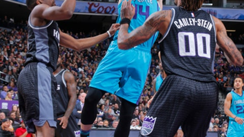 SACRAMENTO, CA - FEBRUARY 25: Frank Kaminsky III #44 of the Charlotte Hornets shoots the ball against the Sacramento Kings during the game on February 25, 2017 at Golden 1 Center in Sacramento, California. NOTE TO USER: User expressly acknowledges and agrees that, by downloading and or using this Photograph, user is consenting to the terms and conditions of the Getty Images License Agreement. Mandatory Copyright Notice: Copyright 2017 NBAE (Photo by Rocky Widner/NBAE via Getty Images)