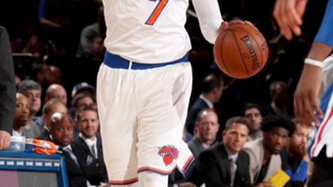 NEW YORK, NY - FEBRUARY 25:  Carmelo Anthony #7 of the New York Knicks directs the play on the court during the game against the Philadelphia 76ers on February 25, 2017 at Madison Square Garden in New York City, New York.  NOTE TO USER: User expressly acknowledges and agrees that, by downloading and or using this photograph, User is consenting to the terms and conditions of the Getty Images License Agreement. Mandatory Copyright Notice: Copyright 2017 NBAE  (Photo by Nathaniel S. Butler/NBAE via Getty Images)