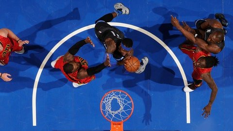 ORLANDO, FL - FEBRUARY 25: Terrence Ross #31 of the Orlando Magic goes up for a lay up against the Atlanta Hawks on February 25, 2017 at Amway Center in Orlando, Florida. NOTE TO USER: User expressly acknowledges and agrees that, by downloading and or using this photograph, User is consenting to the terms and conditions of the Getty Images License Agreement. Mandatory Copyright Notice: Copyright 2017 NBAE (Photo by Fernando Medina/NBAE via Getty Images)