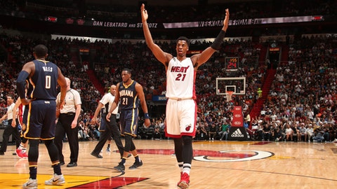 MIAMI, FL - FEBRUARY 25:  Hassan Whiteside #21 of the Miami Heat celebrates during a game against the Indiana Pacers on February 25, 2017 at American Airlines Arena in Miami, Florida. NOTE TO USER: User expressly acknowledges and agrees that, by downloading and/or using this photograph, user is consenting to the terms and conditions of the Getty Images License Agreement. Mandatory Copyright Notice: Copyright 2017 NBAE (Photo by Issac Baldizon/NBAE via Getty Images)