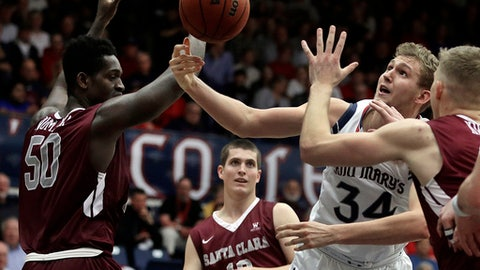 Saint Mary's Jock Landale, right, and Santa Clara's Emmanuel Ndumanya (50) vie for a loose ball during the second half of an NCAA college basketball game Saturday, Feb. 25, 2017, in Moraga, Calif. (AP Photo/Ben Margot)