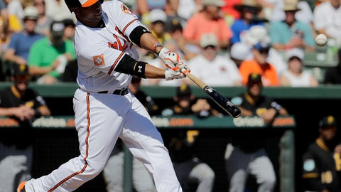 Baltimore Orioles' Welington Castillo singles in the fourth inning of an exhibition spring training baseball game against the Pittsburgh Pirates in Sarasota, Fla., Sunday, Feb. 26, 2017. Baltimore won 8-3. (AP Photo/David Goldman)