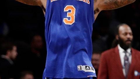 New York Knicks' Brandon Jennings celebrates after an NBA basketball game against the Brooklyn Nets Wednesday, Feb. 1, 2017, in New York. The Knicks won 95-90. (AP Photo/Frank Franklin II)