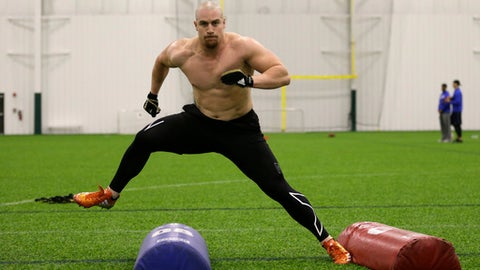 Lindenwood University linebacker Connor Harris works out in Westfield, Ind. Tuesday, Feb. 21, 2017. Harris will participate in the NFL Combine in Indianapolis. (AP Photo/Michael Conroy)