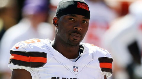 FILE - In this Sept. 20, 2015, file photo, Cleveland Browns wide receiver Andrew Hawkins is shown during an NFL football game against the Tennessee Titans, in Cleveland. The Browns have released wide receiver Andrew Hawkins after three seasons. The team terminated Hawkins' contract on Monday, Feb. 27, 2017, cutting ties with one of the team's most respected players.(AP Photo/Ron Schwane, File)