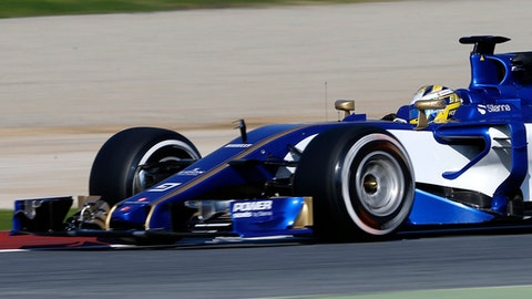 Sauber driver Marcus Ericsson of Sweden steers his car during a Formula One pre-season testing session at the Catalunya racetrack in Montmelo, outside Barcelona, Spain, Monday, Feb. 27, 2017. (AP Photo/Francisco Seco)