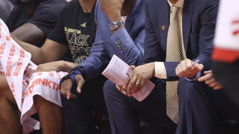 TORONTO, ON - FEBRUARY 26:  Kyle Lowry of the Toronto Raptors watches from the bench as he sits out due to a hand injury beside Cory Joseph #6 against the Portland Trail Blazers during NBA game action at Air Canada Centre on February 26, 2017 in Toronto, Canada. (Photo by Tom Szczerbowski/Getty Images) NOTE TO USER: User expressly acknowledges and agrees that, by downloading and or using this photograph, User is consenting to the terms and conditions of the Getty Images License Agreement. (Photo by Tom Szczerbowski/Getty Images)