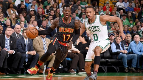BOSTON, MA - FEBRUARY 27:  Dennis Schroder #17 of the Atlanta Hawks handles the ball against the Boston Celtics on February 27, 2017 at the TD Garden in Boston, Massachusetts.  NOTE TO USER: User expressly acknowledges and agrees that, by downloading and or using this photograph, User is consenting to the terms and conditions of the Getty Images License Agreement. Mandatory Copyright Notice: Copyright 2017 NBAE  (Photo by Brian Babineau/NBAE via Getty Images)