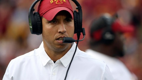 FILE - In this Oct. 1, 2016, file photo, Iowa State head coach Matt Campbell watches during the first half of an NCAA college football game against Baylor in Ames, Iowa. Second-year Iowa State coach Matt Campbell enters spring practice with optimism _ and a ton of work to do.  (AP Photo/Justin Hayworth, File)