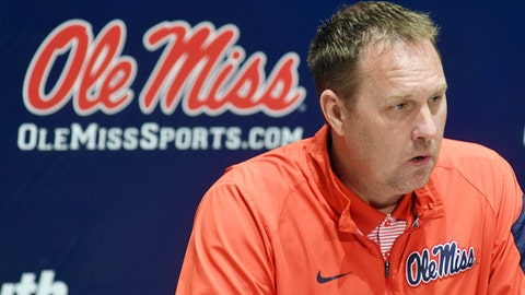Mississippi head football coach Hugh Freeze speaks at a NCA college football press conference at the Manning Center in Oxford, Miss., Tuesday, Feb. 28, 2017. Mississippi begins spring practice today. (Bruce Newman/The Oxford Eagle via AP)