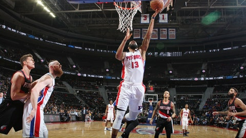 DETROIT, MI - FEBRUARY 28: Marcus Morris #13 of the Detroit Pistons shoots the ball against the Portland Trail Blazers during the game on February 28, 2017 at The Palace of Auburn Hills in Auburn Hills, Michigan. NOTE TO USER: User expressly acknowledges and agrees that, by downloading and/or using this photograph, User is consenting to the terms and conditions of the Getty Images License Agreement. Mandatory Copyright Notice: Copyright 2017 NBAE (Photo by Brian Sevald/NBAE via Getty Images)