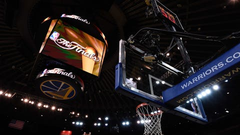 Jun 3, 2015; Oakland, CA, USA; A view of the NBA Finals logo on the score board during practice prior to the NBA Finals at Oracle Arena. Mandatory Credit: Kyle Terada-USA TODAY Sports