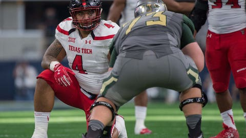 Oct 3, 2015; Arlington, TX, USA; Texas Tech Red Raiders defensive lineman Breiden Fehoko (4) during the game against the Baylor Bears at AT&T Stadium. The Bears defeat the Red Raiders 63-35. Mandatory Credit: Jerome Miron-USA TODAY Sports