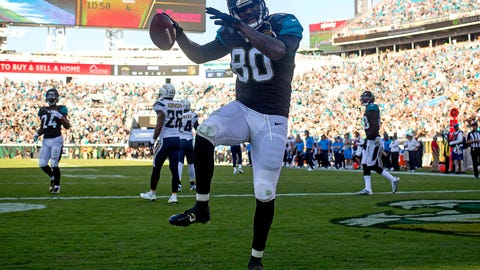 Nov 29, 2015; Jacksonville, FL, USA; Jacksonville Jaguars tight end Julius Thomas (80) celebrates after scoring a touchdown in the fourth quarter against the San Diego Chargers at EverBank Field. The San Diego Chargers won 31-24. Mandatory Credit: Logan Bowles-USA TODAY Sports