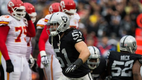 Dec 6, 2015; Oakland, CA, USA; Oakland Raiders inside linebacker Ben Heeney (51) celebrates after a sack against the Kansas City Chiefs during the second quarter at O.co Coliseum. Mandatory Credit: Kelley L Cox-USA TODAY Sports