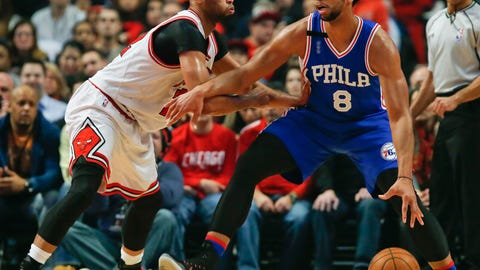 Dec 14, 2015; Chicago, IL, USA; Philadelphia 76ers center Jahlil Okafor (8) works against Chicago Bulls guard Jimmy Butler (21) during the first half at United Center. Mandatory Credit: Kamil Krzaczynski-USA TODAY Sports