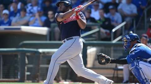 Mar 13, 2016; Surprise, AZ, USA; Cleveland Indians first baseman Jesus Aguilar (36) hits an RBI single during the first inning against the Kansas City Royals at Surprise Stadium. Mandatory Credit: Joe Camporeale-USA TODAY Sports