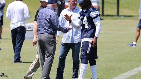May 6, 2016; Irving, TX, USA; Dallas Cowboys linebacker Jaylon Smith (54) meets with owner Jerry Jones during rookie minicamp at Dallas Cowboys headquarters at Valley Ranch. Mandatory Credit: Matthew Emmons-USA TODAY Sports