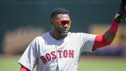 Sep 4, 2016; Oakland, CA, USA;  Boston Red Sox designated hitter David Ortiz (34) waives to the crowd as he enters the dugout before the start of the game against the Oakland Athletics at Oakland Coliseum. Mandatory Credit: Neville E. Guard-USA TODAY Sports