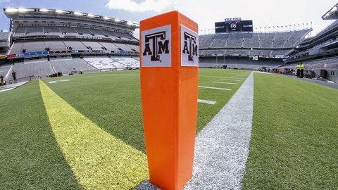 Sep 3, 2016; College Station, TX, USA; The Texas A&M logo on an endzone pylon prior to a game between the Aggies and the UCLA Bruins at Kyle Field. Texas A&M won in overtime 31-24. Mandatory Credit: Ray Carlin-USA TODAY Sports