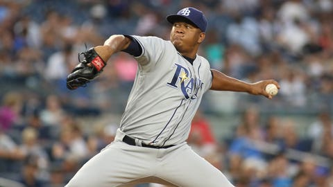 Sep 10, 2016; Bronx, NY, USA;  Tampa Bay Rays pitcher Enny Romero (45) pitches against the New York Yankees in the eighth inning at Yankee Stadium. Mandatory Credit: Wendell Cruz-USA TODAY Sports